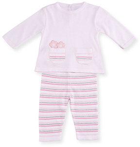 Florence Eiseman Knit Flower Top w/ Striped Pants, Size 3-12 Months