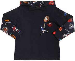 Dolce & Gabbana Sport Print Hooded Cotton Jersey T-Shirt