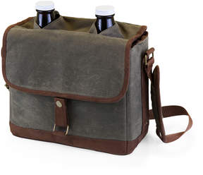 Picnic Time Green & Brown Insulated Double Growler Tote & Glass Growlers