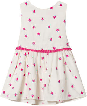 Joules White Fun Strawberry Printed Double Layer Dress