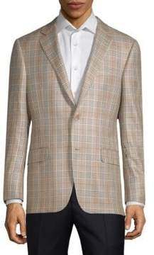Hickey Freeman Milburn II Wool SIlk Check Sports Jacket