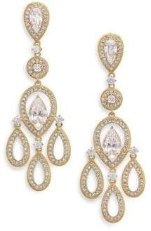 Adriana Orsini Pave Pear Chandelier Earrings/Goldtone