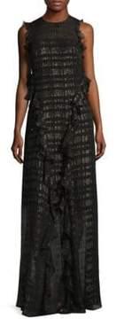Shoshanna Backless Ruffled Metallic Chiffon Gown