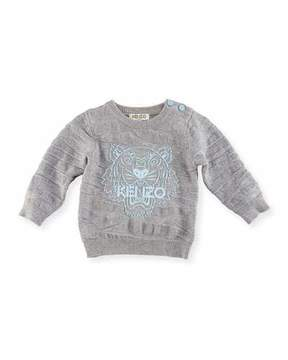 Kenzo Knit Tiger Pullover Sweater, Gray, Size 12-18M