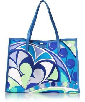 Emilio Pucci Turquoise Printed Canvas Tote bag
