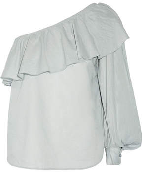 Apiece Apart Bergamot One-shoulder Ruffled Cotton-voile Top - Blue