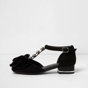 River Island Girls black velvet bow T bar gliiter sandals