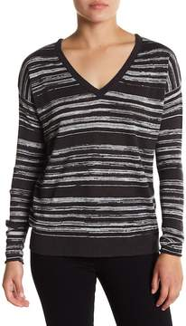 Chaser Stripe Deep V-Neck Long Sleeve Top