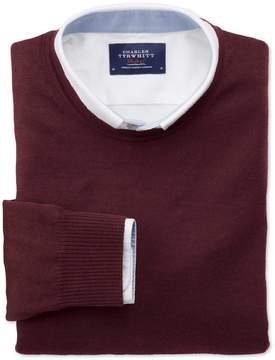Charles Tyrwhitt Wine Merino Wool Crew Neck Sweater Size XS