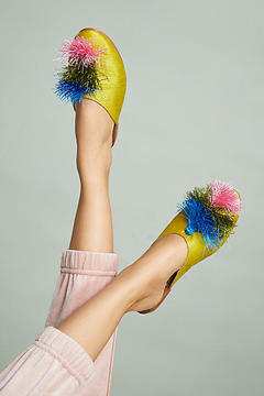 Anthropologie Daydream Tasseled Slippers