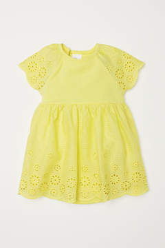 H&M Dress with Eyelet Embroidery - Yellow