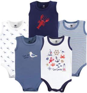 Hudson Baby Blue Sea Shore Sleeveless Bodysuit Set - Newborn & Infant