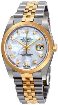Rolex Datejust 36 Mother of Pearl Diamond Dial Ladies Steel and 18k Yellow Gold Jubilee Watch
