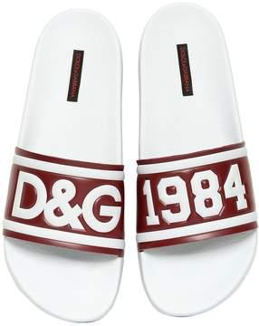 Dolce & Gabbana Rubberized Leather Slide Sandals