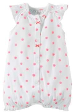 Carter's Infant Girls White & Pink Polka Dot Short Sleeved Romper Creeper 3m