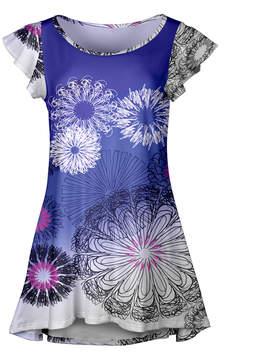 Lily Purple & White Floral Ruffle-Sleeve Tunic - Women & Plus