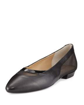 Neiman Marcus Gena Napa Leather Mesh Flat, Black