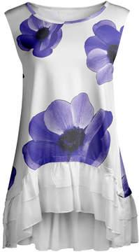 Lily Purple & White Floral Ruffle-Hem Sleeveless Tunic - Women & Plus
