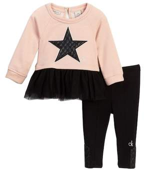 Calvin Klein Star Tunic with Tulle Bottom & Legging Set (Baby Girls)