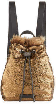 Brunello Cucinelli Broken-Glass Effect Backpack with Shearling Fur