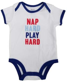 Carter's Infant Boys White Nap Hard Play Hard Short Sleeve Baby Bodysuit