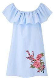 AX Paris Frill Bardot Stripe Denim Dress with Embroidery