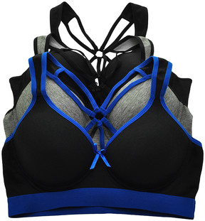 Angelina Black & Gray Strappy-Back Cotton Sports Bra Set