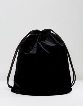 Mi-Pac Velvet Drawstring Backpack in Black