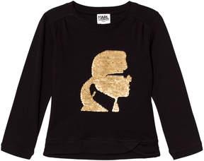 Karl Lagerfeld Black Sequin Long Sleeve Tee