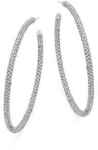 Adriana Orsini Jumbo Micropave Silvertone Hoop Earrings