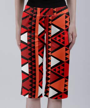 Lily Red & White Geometric Bermuda Shorts - Women & Plus