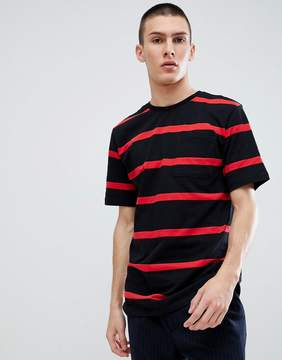 Pull&Bear Stripe T-Shirt In Black And Red
