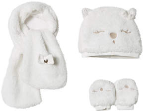 Mayoral White Teddy Faux Fur Hat, Scarf and Mittens Set