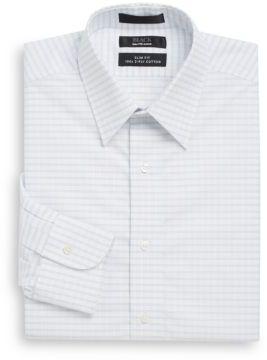 Saks Fifth Avenue BLACK Slim-Fit Windowpane Two-Ply Cotton Dress Shirt