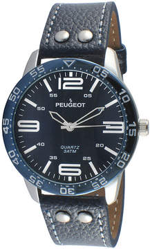 Peugeot Men's Silver Tone And Blue Leather Strap Watch 2049SBL