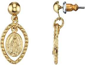 1928 14k Gold-Plated Mother Mary Medallion Drop Earrings