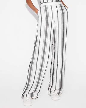 Express Mid Rise Striped Linen-Blend Wide Leg Pant