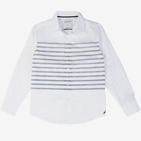 Nautica Little Boys' Placed Stripe Button-Down Shirt (2T-7)