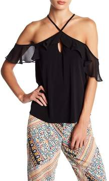 BCBGeneration Ruffle Off-the-Shoulder Halter Blouse