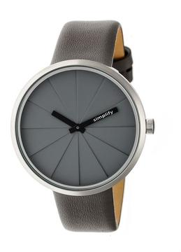 Simplify The 4000 SIM4004 Silver and Grey Leather Analog Watch