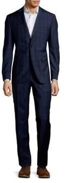 Black & Brown Black Brown Plaid Two-Piece Wool Suit