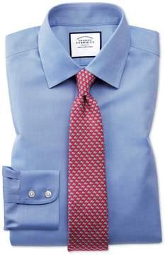 Charles Tyrwhitt Extra Slim Fit Non-Iron Royal Panama Blue Cotton Dress Shirt French Cuff Size 14.5/33