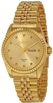 August Steiner Gold-tone Diamond Men's Watch