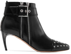 Alexander McQueen Embellished Leather Ankle Boots - Black