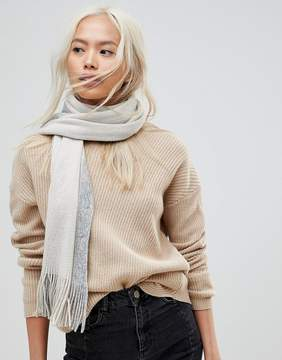 French Connection Oversized Color Block Gray Scarf