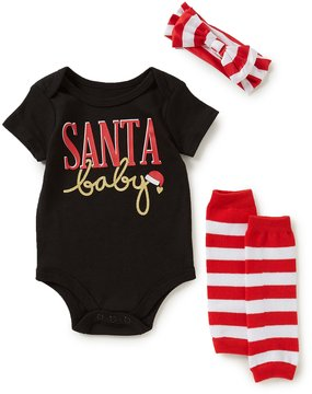 Baby Starters Baby Girls 3-12 Months Christmas Santa Baby Bodysuit, Leg Warmers, & Bow Layette Set