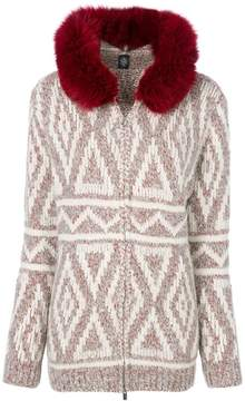 Eleventy fox fur hooded textured cardigan