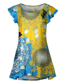 Lily Yellow & Blue Abstract Ruffle-Sleeve Tunic - Women & Plus