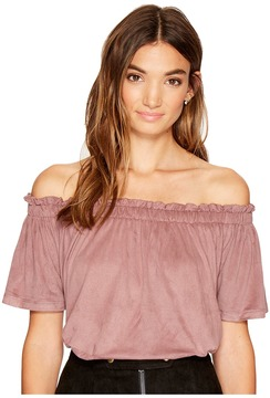 Bishop + Young Suede Off the Shoulder Women's Clothing