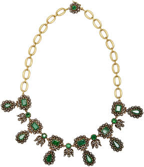 Green 18K Gold Emerald and Diamond Necklace
